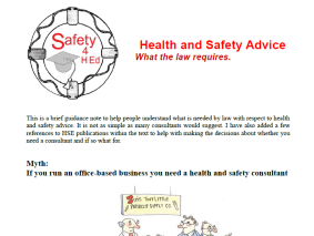 Health and Safety Advice - image from booklet front page